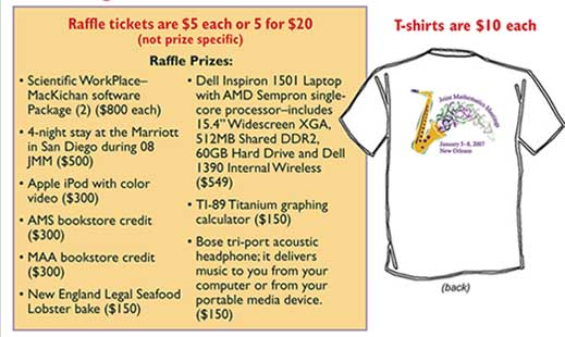 T-shirts are $10 each - Raffle tickets are $5 each or 4 for $20 (not prize specific). Prizes are Scientific Workplace MacKichan software, Dell inspiron 1501 Laptop,4-night stay at Marriott at 2008 JMM, ti-89 titanium graphing calculator,apple ipod with color video,ams bookstore credit $300, maa bookstore credit $300,bose tri-port acoustic headphones,New England Legal Seafood lobster bake,ti-89 titanium graphing calculator